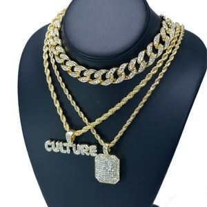 """Other - Iced out Bubble letter, 18"""" Miami Cuban Necklace"""